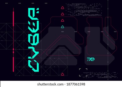 Modern cyberpunk poster. Futuristic Abstract HUD. Good for game UI. Vector Illustration EPS10