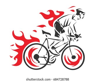 Modern Cycling Action Silhouette Logo - Aggressive On Fire Cyclist