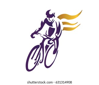 Modern Cycling Athlete In Action Silhouette Logo - Endurance Cyclist With Gold Flame