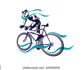Modern Cycling Athlete In Action Silhouette Logo - Full Speed Ride In Motion