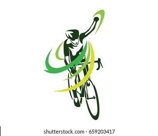 Modern Cycling Athlete In Action Silhouette Logo - The Winning Pose