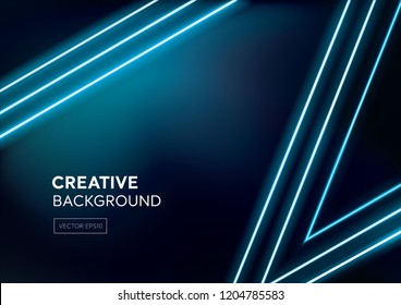Modern dark blue abstract background with laser line light beams and space for text