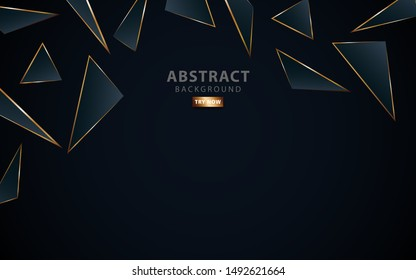 modern dark blue background.Realistic light effect on textured grey and blue gradient triangular background. with golden line. can be used in cover design, poster, flyer, vector illustration.