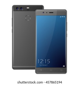 Modern dark gray smartphone. Two sides front view of cellphone front and back . Phone with dual camera.vector illustration.