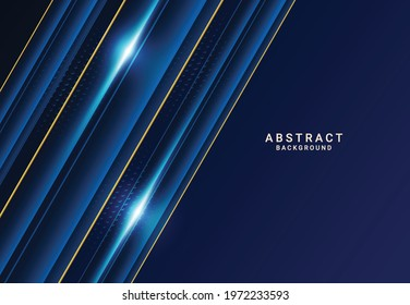 Modern dark luxury blue paper background with 3d layered line triangle texture for website, business card design. Vector illustration - Shutterstock ID 1972233593