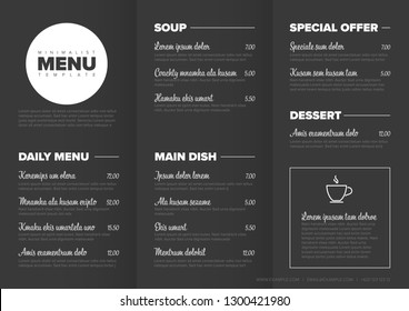 Modern dark minimalistic restaurant menu template with three columns design layout and nice typography