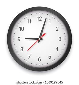 Modern Dark Quartz Wall Clock on White Background