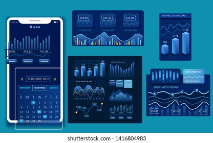 Modern dashboard vector design. Infographic elements for web, ui and other materials.