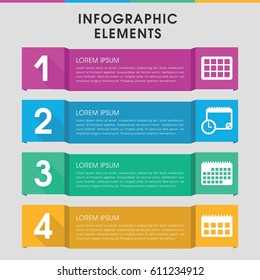 Modern date infographic template. infographic design with date icons includes calendar. can be used for presentation, diagram, annual report, web design.