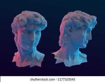 Modern David Sculpture Head Vector 3D Rendering