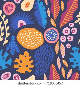 Modern decorative exotic jungle fruits and plants seamless pattern in vector