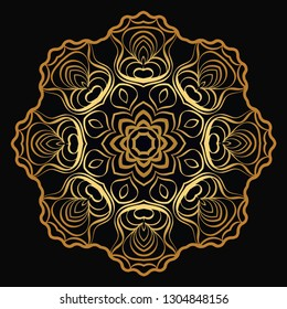 Modern Decorative Floral Gold Color Mandala. Super Vector Round Shapes. Vector Illustration