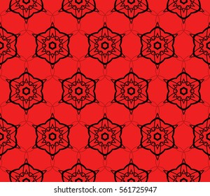 Modern decorative floral lace pattern. template. Luxury texture for wallpaper, invitation, textile, decor, fabric. Vector illustration. red, black color