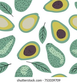 Modern decorative seamless pattern with avocado and leaves. Vector illustration