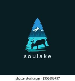 Modern, deer and lake landscape logo vector illustration on dark background