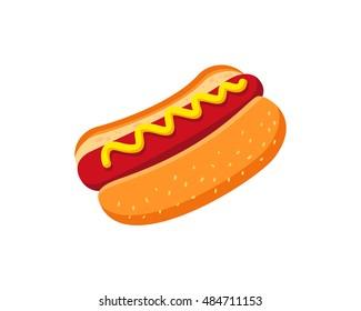 Modern Delicious Food Logo - Hot Dog Symbol