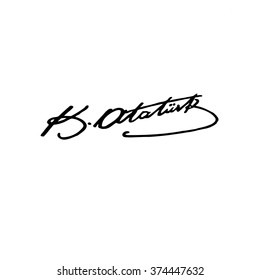 modern, democratic and secular Republic of Turkey founder Mustafa Kemal Ataturk's signature vectors