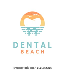 Modern Dental on the Beach logo design inspiration