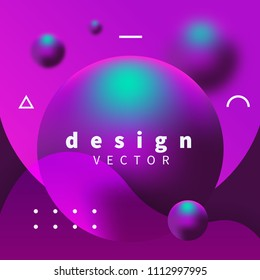 Modern design 3d with purple and blue spheres