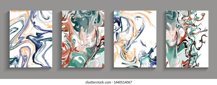Modern design 4 set Abstract marble texture of colored bright liquid paints