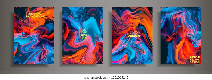 Modern design A4.Abstract marble texture of colored bright liquid paints.Splash neon acrylic paints.Used design presentations, print,flyer,business cards,invitations, calendars,sites, packaging,cover.