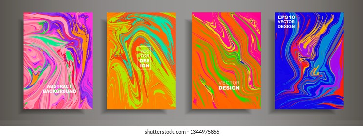 Modern design A4.Abstract multicolor marble texture of colored bright liquid paints. Splash trends paints. Used design presentations, print, flyer, business cards, invitations, calendars, sites.