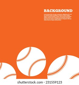 Modern design background. Baseball ball sign icon. Sport symbol. Orange poster with white signs. Vector