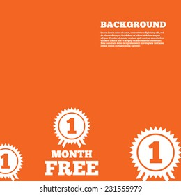 Modern design background. First month free medal with ribbon sign icon. Special offer symbol. Orange poster with white signs. Vector