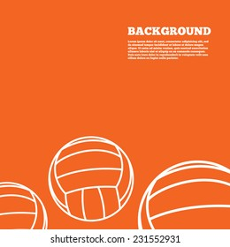 Modern design background. Volleyball sign icon. Beach sport symbol. Orange poster with white signs. Vector