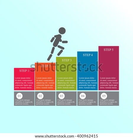 Modern design for business steps options diagram info graphic. The man goes up the stairs. Layout design. Template. Web design. Five step.
