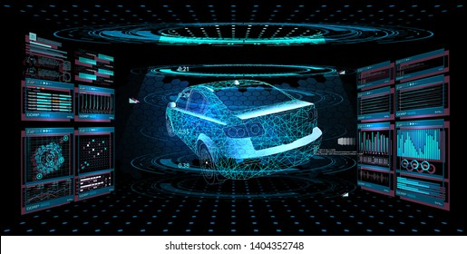 Modern Design car service in style HUD UI GUI. Diagnostic auto infographic. Virtual graphical interface  auto scanning, analysis and diagnostics, autoscann.  Hologram of the car. Vector illustration.