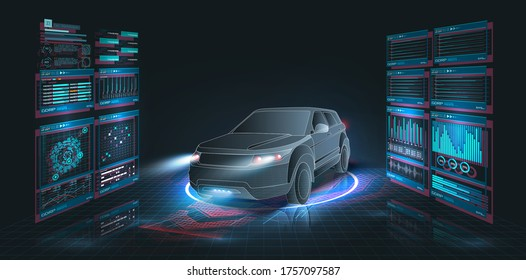 Modern Design car service in style HUD, UI, GUI, UX. Diagnostic auto infographic. Virtual graphical interface auto scanning, analysis and diagnostics, autoscann. Hologram of the car. Scans the road. 3d