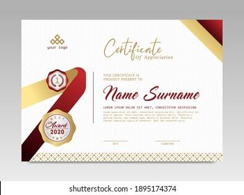 Modern Design Certificate. Certificate template awards diploma background vector modern design simple elegant and luxurious elegant. layout horizontal in A4 size