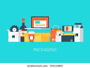 Modern design concept of flat package elements.