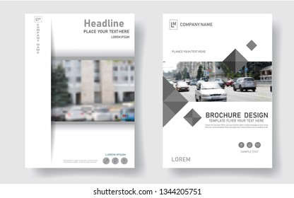 Modern design of the cover of the brochure. Abstract white, gray slides. An unusual banner frame. City font. The capitalization model. Advertising flyer style template