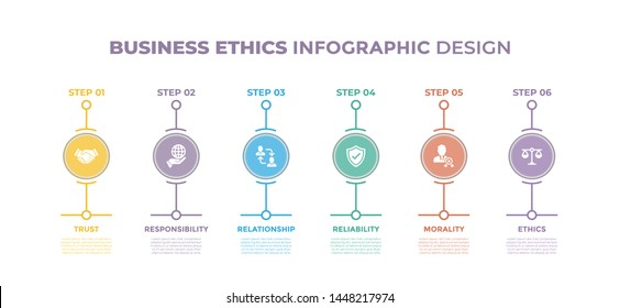Modern design elements for Business Ethics concept Multicolor infographics.Timeline with 6 steps, options, Circles. Vector template
