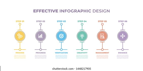 Modern design elements for Effective concept Multicolor infographics.Timeline with 6 steps, options, Circles. Vector template