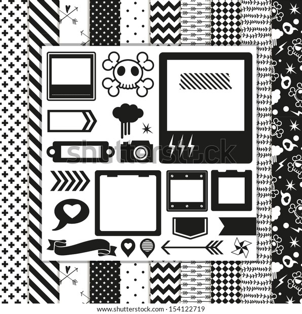 Modern Design Elements: pattern, frames, ribbon, tag, star, flag, skull and seamless backgrounds. For design or scrap booking.