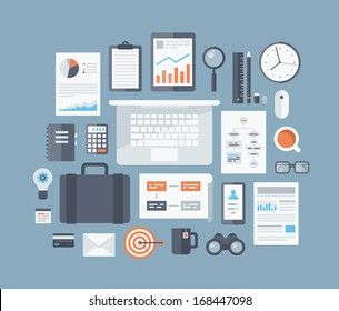 Modern design flat icon vector collection concept in stylish colors of business workflow items and elements, office things and equipment, finance and marketing objects. Isolated on blue background.