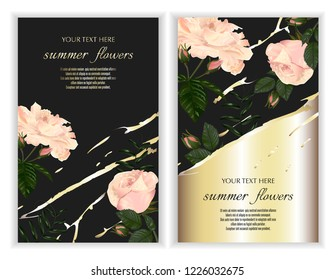 Modern design for greeting cards, wedding decorations, invitation,sales, packaging. Set of Vector banner with Luxurious rose flowers on dark background with gold line.