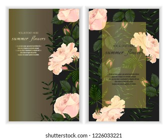 Modern design for greeting cards, wedding decorations, invitation, sales, packaging. Set of Vector banner with Luxurious rose flowers on dark background.