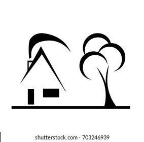 modern design house sketch vector with tree and chimney on white background