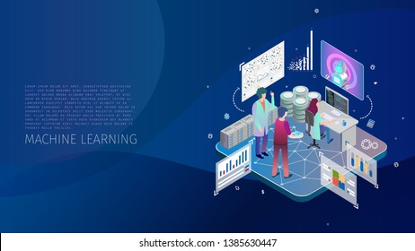 modern design illustration with group of people doing machine learning, digital systems and programming concept