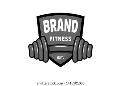 Modern design logo shield fitness emblem.
