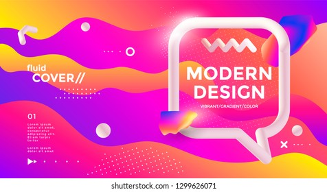 Modern design poster with 3d flow shape and speech bubble. Vector banner gradient trendy illustration.