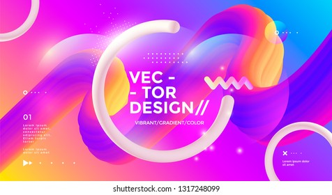 Modern design poster with 3d flow shape and circle. Vector banner gradient trendy illustration.