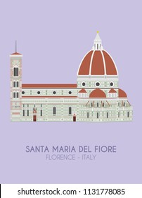 Modern design poster with colorful background of Santa Maria del Fiore (Florence, Italy). Vector illustration