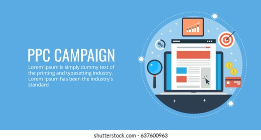 Modern design for PPC campaign, pay per click advertising, paid marketing flat vector banner with icons