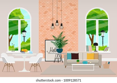 The modern design of the project is a large comfortable living room with huge windows combined with a dining room. Vector illustration.