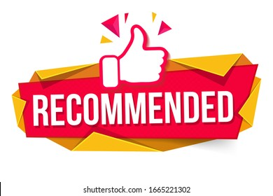 MODERN DESIGN OF THE RECOMMENDED BANNER WITH FINGER UP